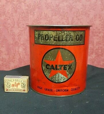 WWII RAAF VINTAGE AUSTRALIAN CALTEX OIL Co 5lb AEROPLANE PROPELLER  GREASE TIN