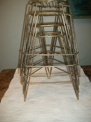 """Set of 4 Vtg Mid Century Gold Metal Hairpin Leg Stackable PLANT STANDS 12"""" tall"""
