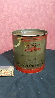 1930s  VINTAGE VACUUM GARGOYLE MOBIL OIL co AUSTRALIA 5lb GREASE TIN DRUM