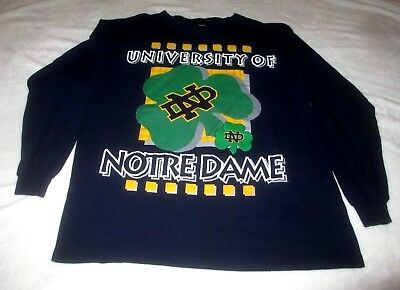 University Notre Dame Fighting Irish Vtg The Game T-shirt Men's L Raised Graphic