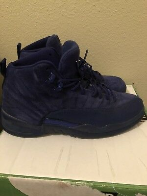 new arrival 969f4 caa03 Nike Air Jordan 12 Retro Blue Suede Men s Shoes