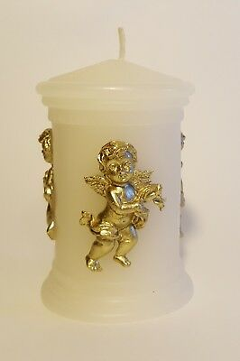Off White candle with 3  metallic gold baby Angels