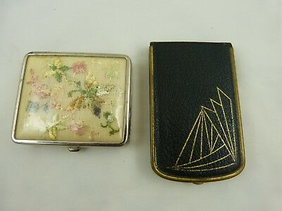 Lot of 2 Compacts Vintage Black Leather Mondaine ART DECO Powder & 1 Embroidered
