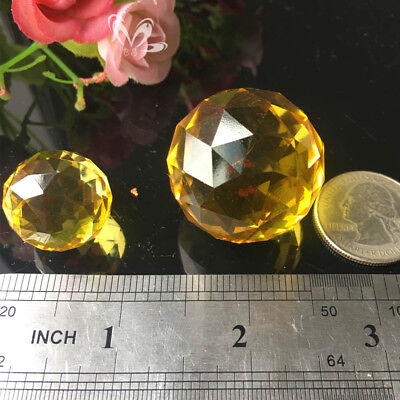2Pcs 20MM+30MM Yellow CRYSTAL Glass Ball Chandelier Prism Pendant DIY Suncatcher