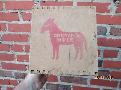 Antique Brown's Mule Tobacco Wood Shipping Box Crate Dovetail Boerne Texas Image
