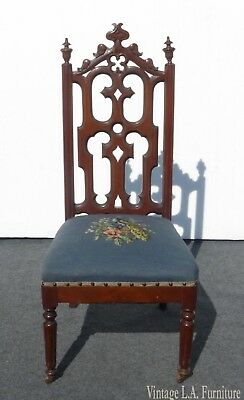 Antique Victorian Blue Floral Tapestry Accent Chair ~ French Provincial