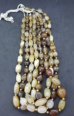 4 string Beautiful Brown Color Old Agate Stone Beads #12A