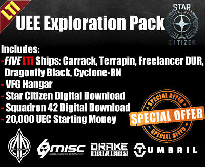 Star Citizen Bundle Package - SC + SQ 42 + Hangar + 20k UEC + 5 LTI Ships!