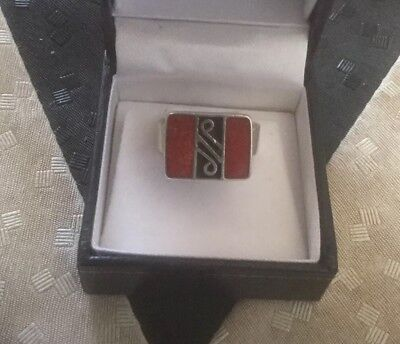 Vintage 925 Sterling Silver Red & Black Coral Ring Sz 6.75 O 5.3 Gm Free Post