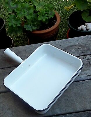 Vintage Enamel Cooking Grill Pan Dish with Handle From Old Cooker Retro