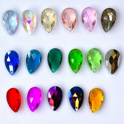 10Pcs Teardrop Crystal Glass Loose Beads Pendants DIY Jewelry Making Accessories