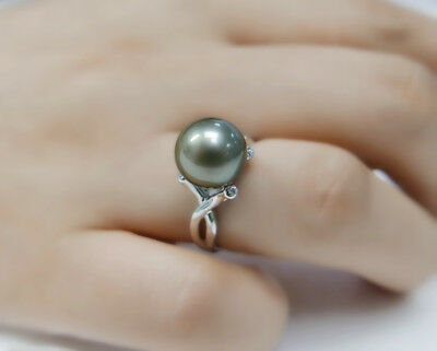 Round Natural Gray Genuine Tahitian Pearl Ring 925 Sterling Silver SZ Adjustable