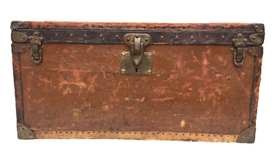"""Louis Vuitton Antique Orange 26"""" Double Hat Box Steamer Trunk with Tray Insert"""