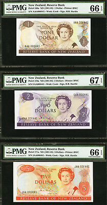 New Zealand 1981-85 MATCHING 1st Prefix LOW Ser $1 $2 $5 GEM UNC PMG 66 & 67 EPQ