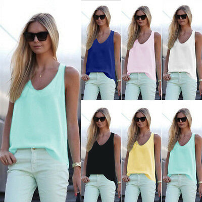 Womens Summer Tank Tops Camisole Ladies Plain Chiffon Shirts Blouse Loose Vest T