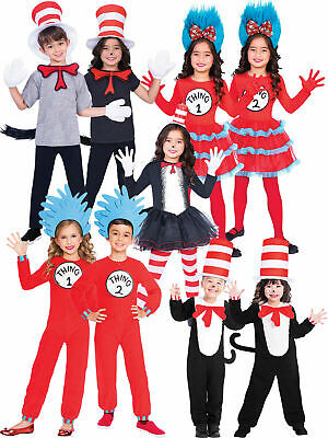 Kids Cat in the Hat Costume Boys Girls Dr Seuss Fancy Dress Thing Book Day Child
