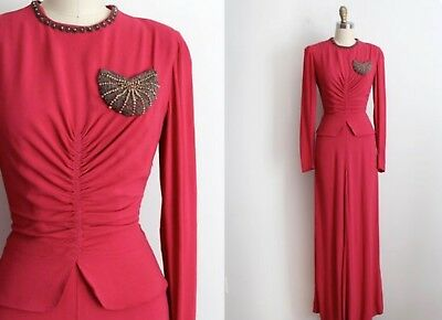 Women's Vintage 1940s Vintage Pink, Fuschia Crepe Gown, Small Dress - Rare Find!