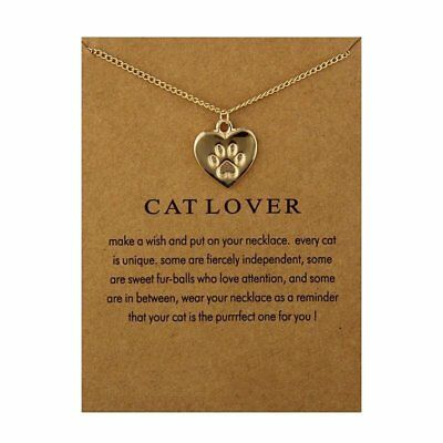 Fashion Jewelry Cat Lover Animal Paw Footprint Heart Gold Necklace Womens Gifts