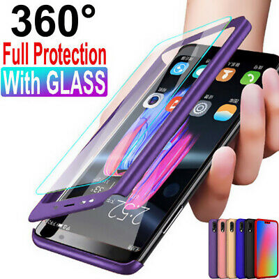For Huawei Honor 10/9 Lite V10 Y9 2019 Case 360° Protective Cover+Tempered Glass