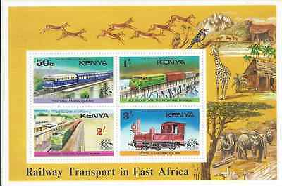 Kenya - 1976 Railway Transport in East Africa - Minature Sheet - Un-mounted Mint