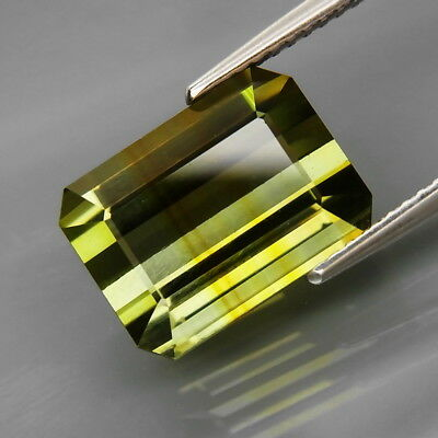 7.38Ct.Awesome Natural BIG Yellowish Green Tourmaline Perfect Shape&Eye Clean