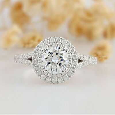 Round Cut Diamond 1.70 Ct Double Halo Engagement Ring Real 14k White Gold Finish