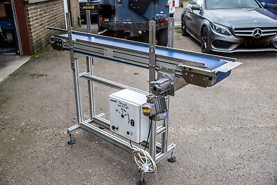 Flat Belt Conveyor 1.6 metre long x 200mm wide 240V 13Amp Inverter Speed Control