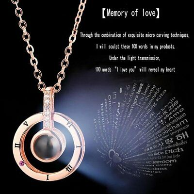 I Love You in 100 Languages Light Projection Pendant Necklace For Memory of LOVE