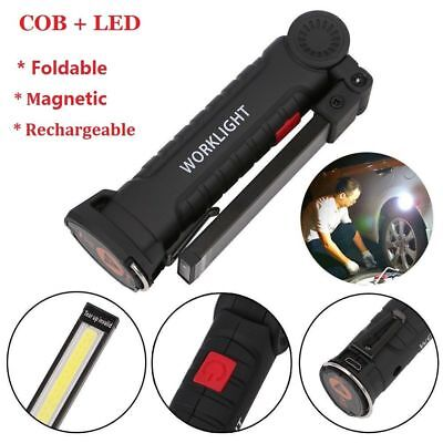 2x LED COB Rechargeable Magnetic Hand Torch Flexible Inspection Lamp Work Light