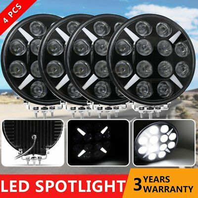 4× 9 inch CREE LED Driving Lights Spot Round Black Spotlights 4x4 OffRoad SUV