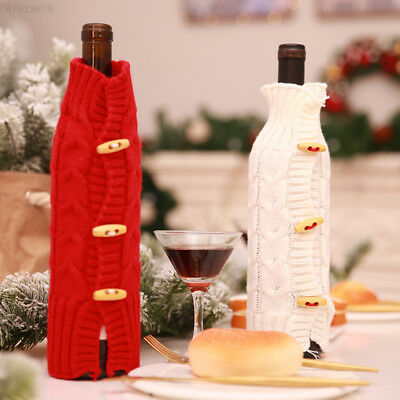 B94F Wine Bottle Cover Christmas Gift Tableware Bag Home Practical Red/Wiite