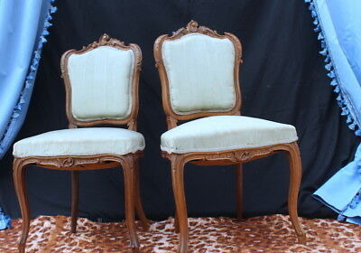 Vintage French Louis Xv Style Carved Oak Pair Of Chairs
