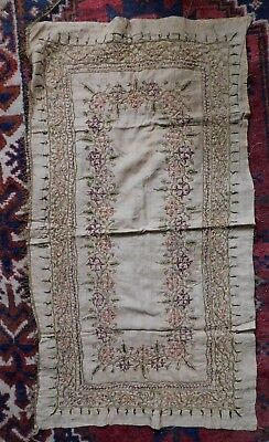 Antique Embroidered Silk Panel  / Runner, Intricate Gold Thread Embroidery