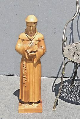 """30"""" TALL  Wooden Hand Carved Santo Religious Saint Statue St. Francis of Assisi"""