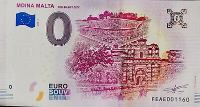 Billet 0 Euro Souvenir Touristique Mdina Malta The Silent City 2019-1