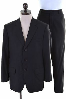 HUGO BOSS Mens 2 Piece Suit EU 50 Large W34 L29 Black Wool  AN21