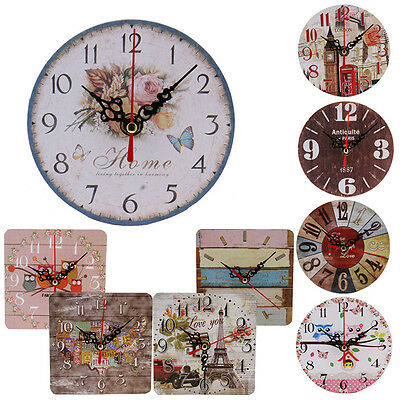 Vintage Style Non-Ticking Silent Antique Wood Wall Clock Home Kitchen Office net