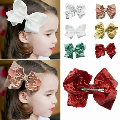 8 inch Large Sequin Hair Bow Alligator Clips Headwear Girls Hair Accessories UZE