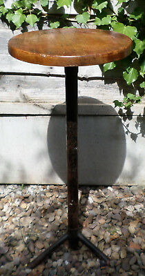 Old Wood & Metal Display Stand / Perching Stool with Rotating Top,  Prop