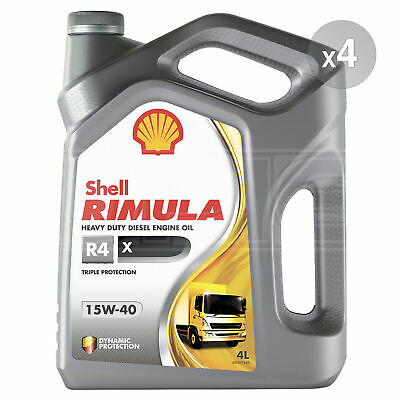 Shell Rimula R4 X 15W-40 Heavy Duty Diesel Engine Oil - 4 x 5 Litres (20L)