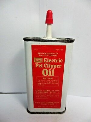 VINTAGE 1940-50's- SEARS ELECTRIC PET CLIPPER OIL TIN CAN HANDY OILER -near mint