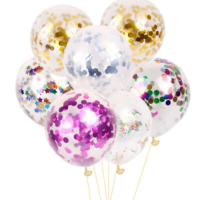 10PCS Clear Latex Balloon Filled Colour Confetti Sequins Wedding Party Birthday