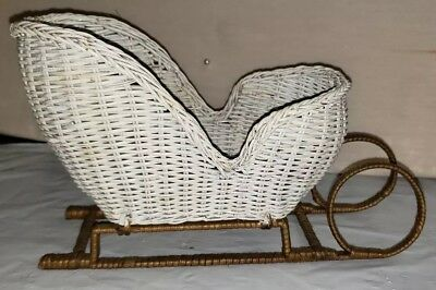 Wicker rattan Vintage White Sleigh  Christmas Decoration 1218