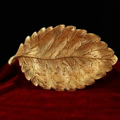 "10"" China old Antique Tibet Be unearthed  Tibetan silver gilt leaf plate"