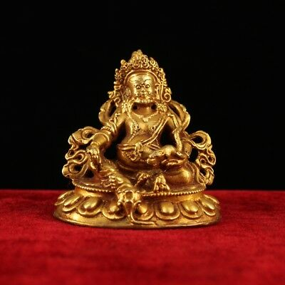 China old Antique Tibet handmade red copper gilt  Yellow Jambhala statue