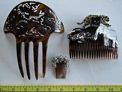 LOT Victorian to now Rhinestone Celluloid Galalith Hair Combs Mantilla elephant