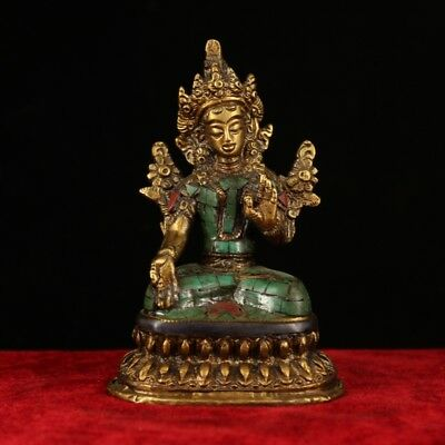 China old Antique Tibet handmade copper Gem inlay Turquoise gilt  White Tara