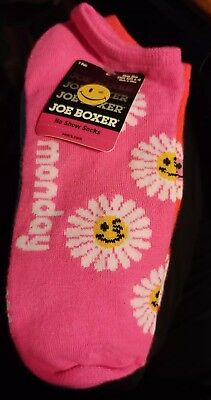 Joe Boxer Day of the week low cut socks. 7 pairs NEW size 4 to 10 woman