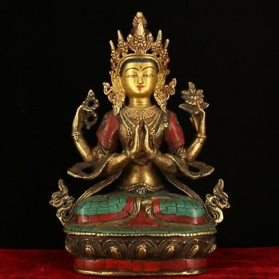 """9"""" China Antique Tibet copper handmade Gem inlay Turquoise gilt four arm guanyin"""