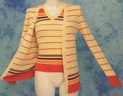 """2Pc ViNTAGE 70s """"THE LiMiTED"""" ReTrO KNiT STRiPE TANK TOP & CARDiGAN SWEATER S/M"""